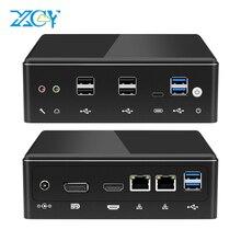 XCY Mini PC Intel Core i7 10510U Linux Thin Client Micro Desktop Computers Best Industrial Komputer Win 10 Minipc 2 Lan Port 4K i5 8350U 8250U 7200U 7500U 6500U 8650U 8550U i3 7020U Ordinateur Windows DDR4 Desktop USB