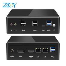XCY Mini Pc אינטל Core i7 10510U לינוקס לקוח דק מחשבים שולחניים מיקרו מחשבים שולחניים הטובים ביותר Win 10 Minipc 2 יציאת Lan 4K i5 8350U 8250U 7200U 7500U 6500U 8650U 8550U i3 7020U מחשב Windows DDR4 שולחן העבודה USB