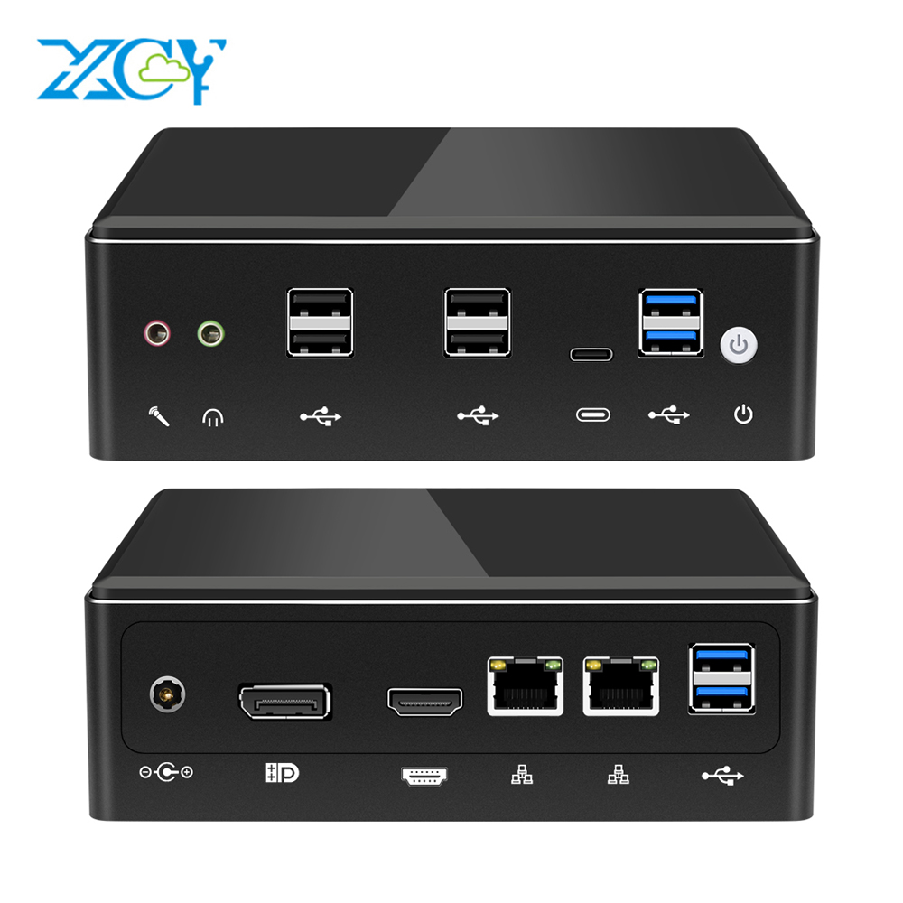 XCY Mini Pc Intel Core I7 7500U Linux Thin Client Micro Desktop Computers Best Industrial Komputer Win 10 Minipc 2 Lan Port 4K