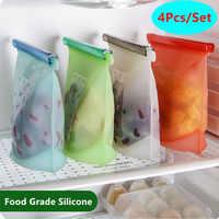4 teile/satz Silikon Lebensmittel Lagerung Taschen 500/1000/1500ml Reusable Küche Lebensmittel Erhaltung Tasche Zipper FDA- grade Kochen Frische Taschen