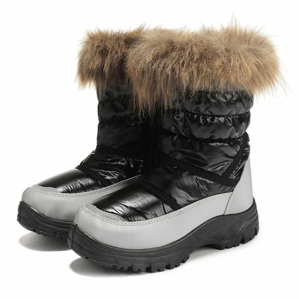 Botas de nieve más cálidas botas de piel de felpa plantilla zapatos de mujer con cremallera plataforma de invierno mantener caliente botas de nieve alto tubo Casual botines