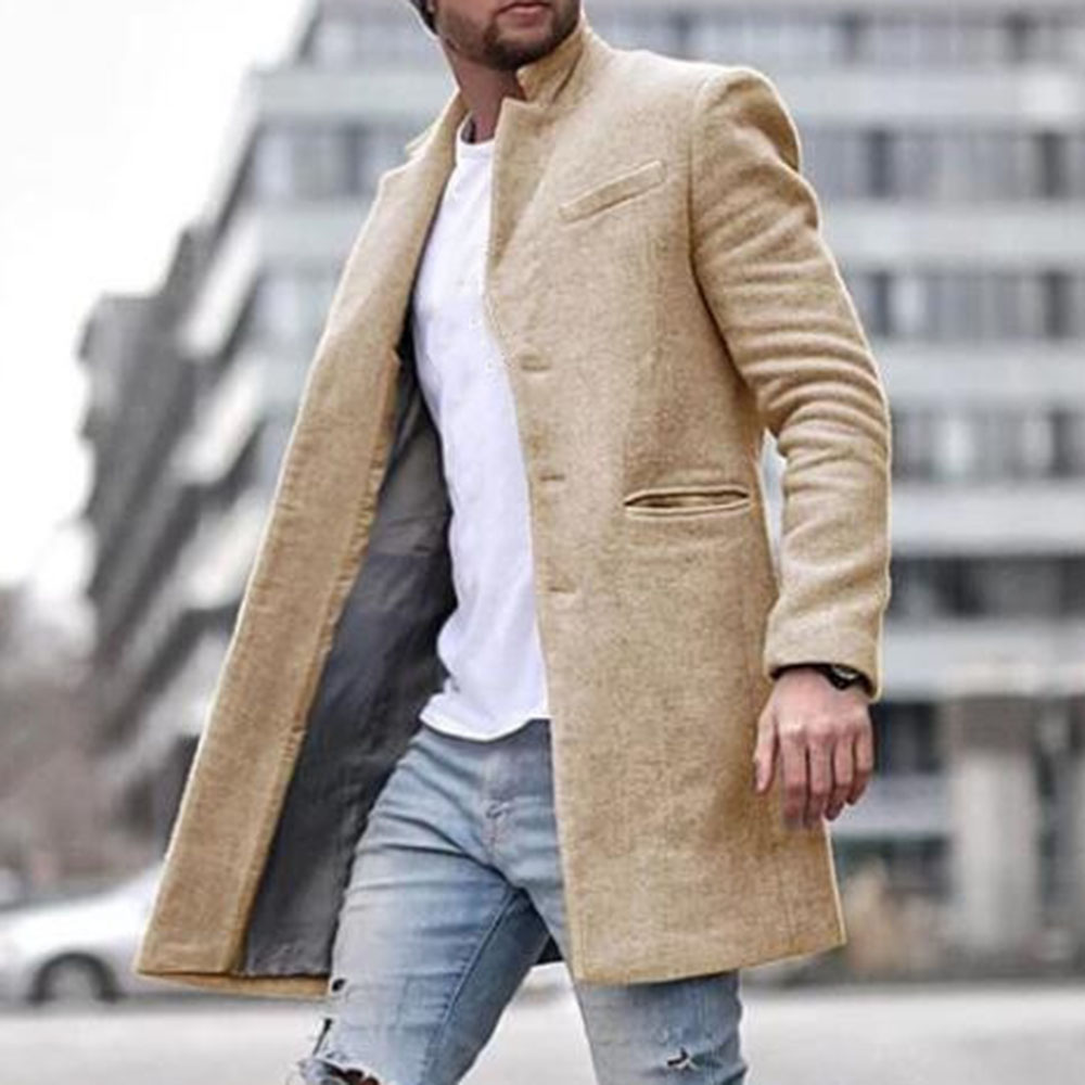 Wool Blends Men Fashion Autumn Spring Plian Office Vintage Causal Long Blazer Winter Coat 4 Colors Plus Size 3XL Overcoat Black