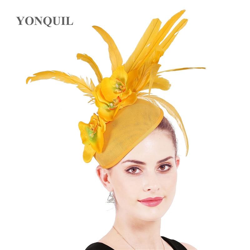 Ladies Fascinator Hats Hair Clip Elegant Bride Wedding Headpiece And Fascinators For Women Elegant Church Fedora Hats Feather