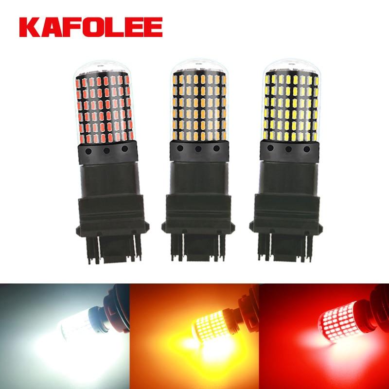 GZKAFOLEE 1 шт. Высокая мощность 2800LM без ошибок T25 3157 3156 p27/7 Вт светодиодный P27W лампы Автомобильный тормозной обратный светильник красный сигнал п...