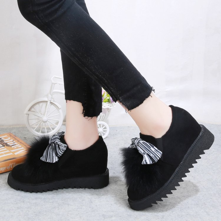 Image 3 - Round Toe Fashion Furry Loafers for Women Flock Riband Plush Warm Loafer Shoes Mixed Colors Casual Sweet Slip on Flats Shoes-in Women's Flats from Shoes