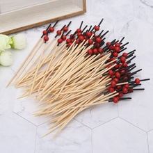 100pcs Beads Bamboo Cocktail Picks Food Sticks Disposable Toothpicks Party Club