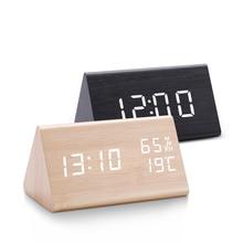 Digital Clock LED Wooden Alarm Clock Table Sound Control Electronic Clocks Desktop USB/AAA Powered Desperadoes Home Table Decor