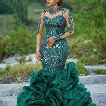 Abendkleider Hunter Green Evening Gowns Organza Applique Long Formal Dress Sequins Sheer Neckline robe de soiree abiye