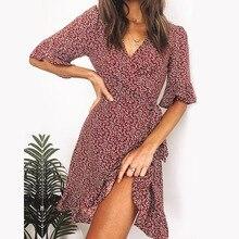 Femmes bordeaux robe imprimée florale été Sexy col en V volants demi manches une ligne robes Boho plage vacances Mini robe de soleil