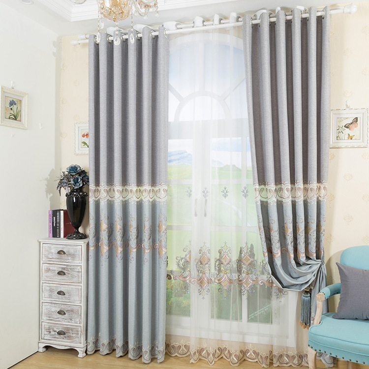 Simple Linen Cotton Cloth Embroidered with High Shading Curtains for Living Dining Room Bedroom.