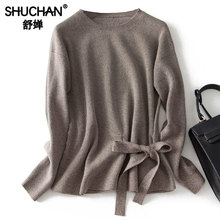 Shuchan Winter Autumn 2019 Sweater Pullover 80% Wool Bow Solid Women Designer Sweaters Office Lady Clothes