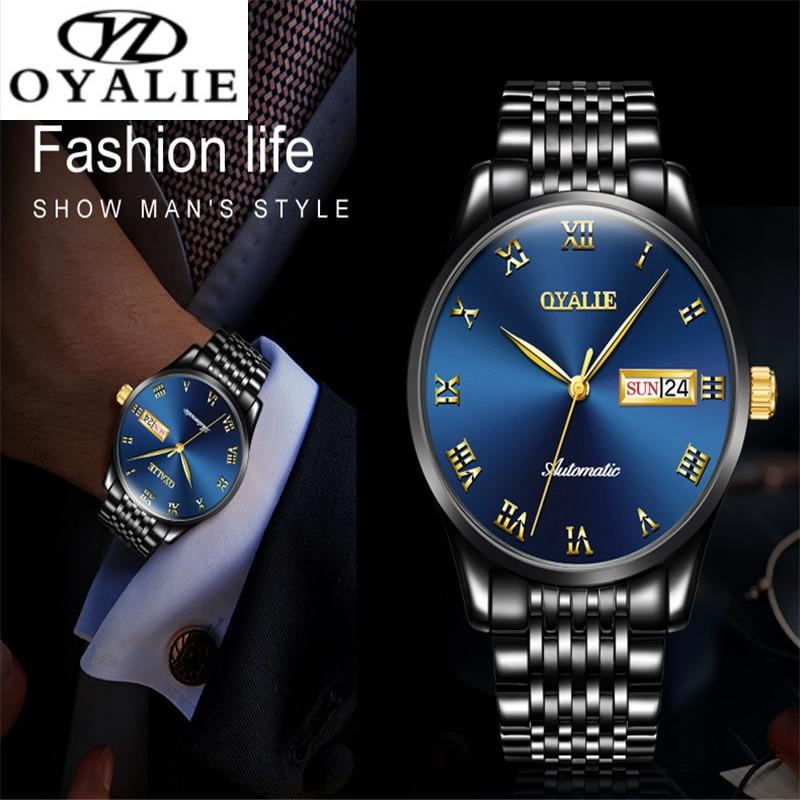 OYALIE Men Watch Roman Numerals Automatic Mechanical Multifunction Watch Calendar Luxury Waterproof Watch For Men Business Watch