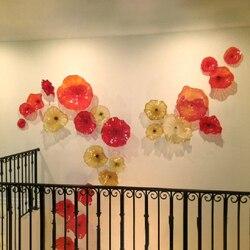 Płytki kwiatowe Wall Art włoski styl dmuchane szkło wiszące płyty Murano ręcznie dmuchane szkło płyty luksusowe kinkiety