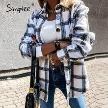 Simplee Casual plaid shirt women winter Long sleeve button collar shirt Fashion women's shirt Spring autumn versatile top 2020