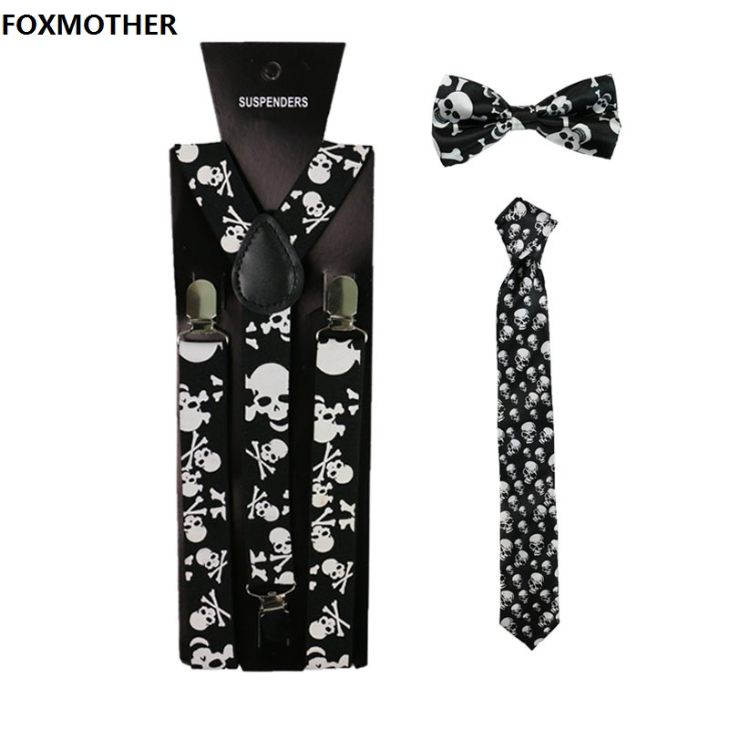 FOXMOTHER Vintage Black Skull Print Women Men Suspenders Bowtie Neck Tie Set