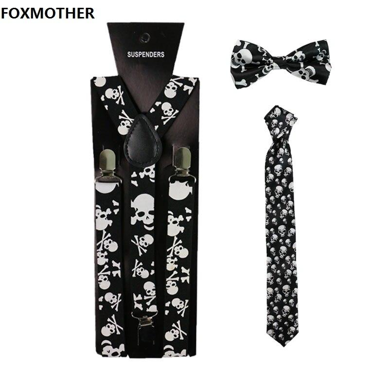 FOXMOTHER Vintage Black Skull Print Women Men Suspenders Bowtie Neck Tie Set