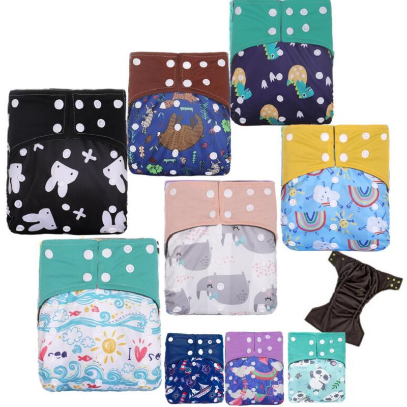 1PC Reusable Bamboo Charcoal Cloth Diaper Waterproof One Size Eco-friendly Diaper cover Pocket Diaper Charcoal Nappy Dropship