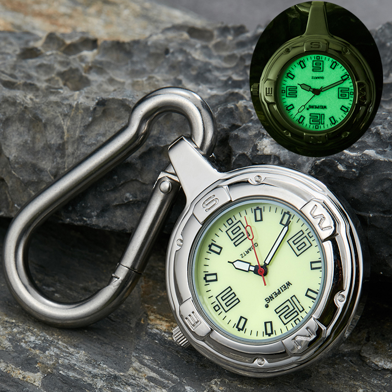 Fashion Silver Clip-On Carabiner Pocket Watch Unique Luminous Dial Quartz Watches Outdoor Sport Men Women Clock Reloj De Bolsill