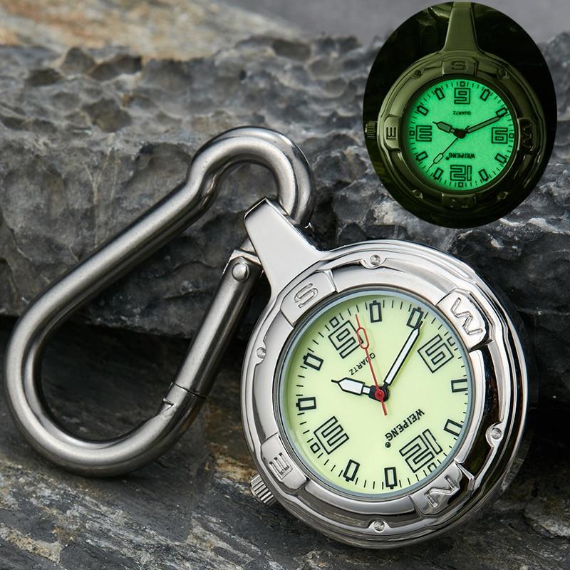 Fashion Silver Clip-On Carabiner Pocket Watch Unique Luminous Dial Quartz Watches Outdoor Sport Men Women Clock Reloj De Bolsill