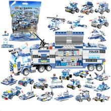 8Pcs/lot City Police SWAT Truck Car Building Blocks Sets LegoINGs Technic Playmobil DIY Bricks Toys For Children Christmas Gifts