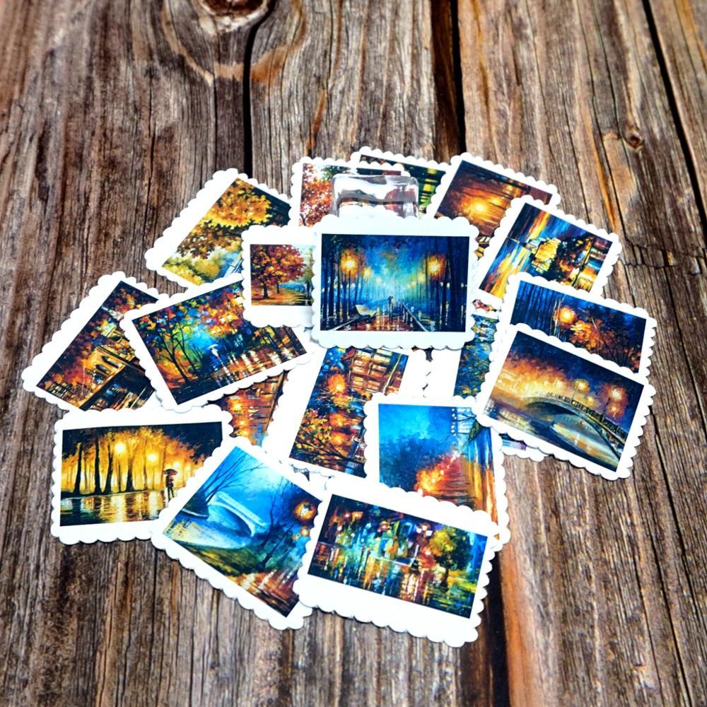 22PCS Retro Landscape Stickers DIY Decoration Diary Scrapbooking Albums Sticker Boys Girls Children Kids Waterproof Gift Stickes