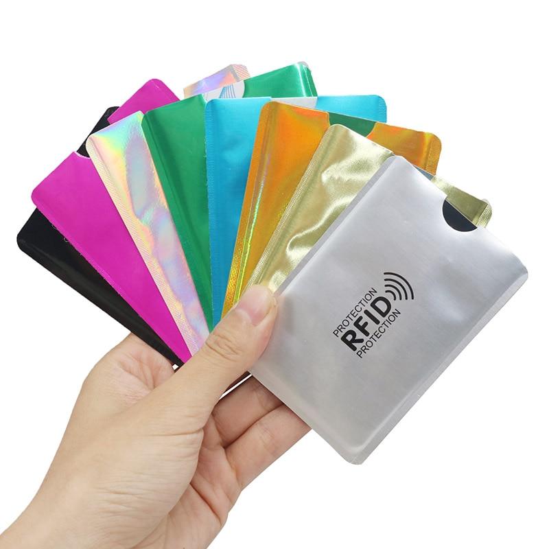 100pcs Mix Anti RFID Wallet Blocking Reader Lock Bank Card Holder Id Bank Card Case Protection Metal Credit NFC Holder Aluminium