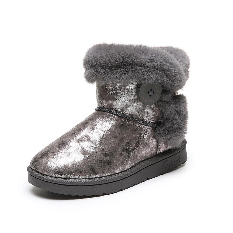 Girls Suede Fur Lined Furry Ankle Kids Winter Shoes Warm Children  Boots