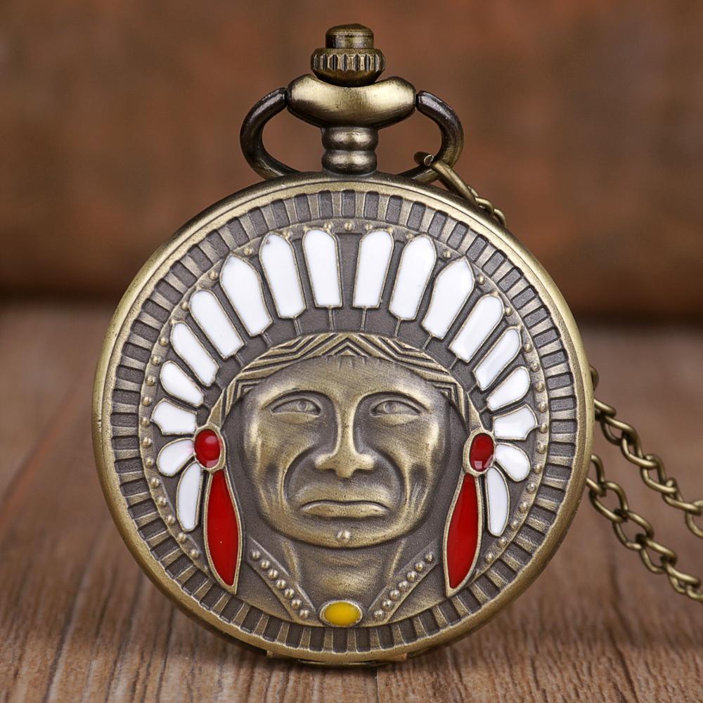 Ancient Indian Old Man Portrait Design Quartz Fob Pocket Watch Bronze Pendant Necklace Chain Souvenir Gifts