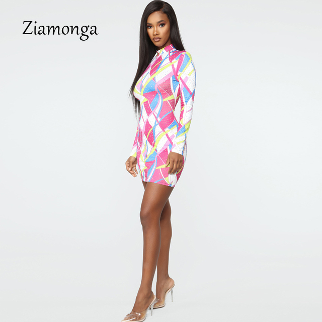 Kyliejenner Inspired Elegant Bodycon Dress High Neck Long Sleeve Print Mini Dress Stretch Slim Party Dress 2
