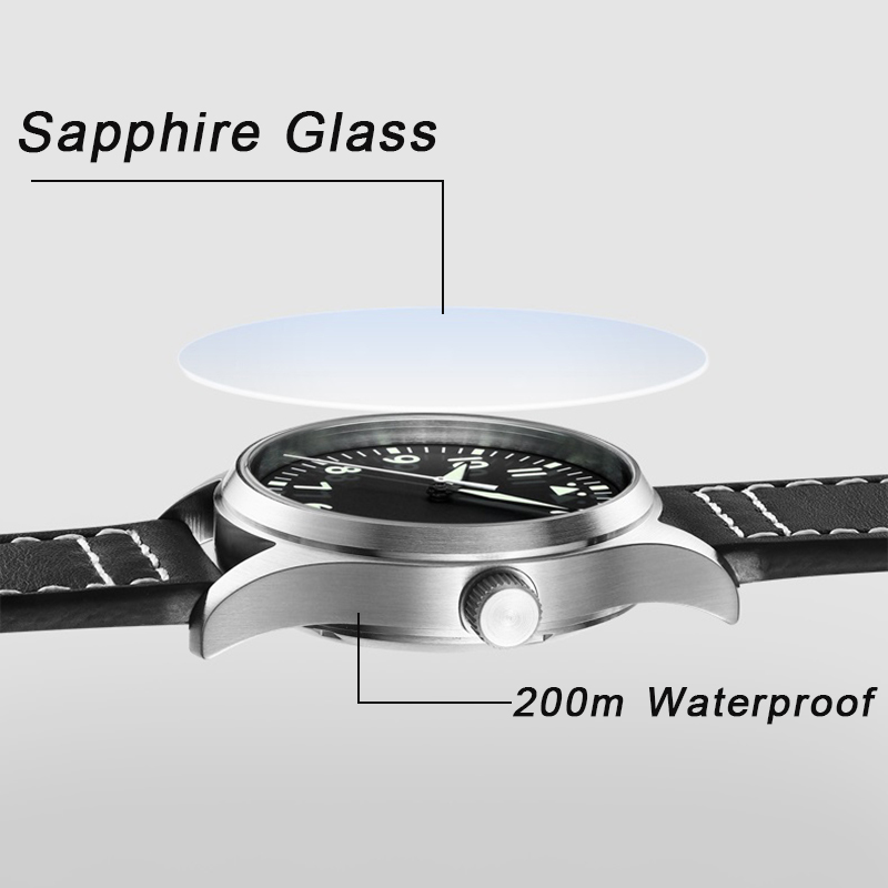 Japón NH35 Pilot Watch automático mecánico Diver reloj C3 Super luminoso hombres relojes zafiro cristal 200m reloj de buceo de lujo - 5