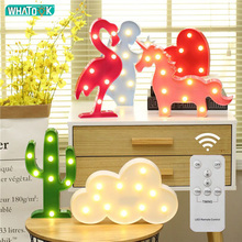 LED Night Lights 3D Table Lamp Wall-Lamp Cartoon Unicorn/Flamingo/Cactus/Pineapple Luminaria Home Desk Decor Children Kids Gifts