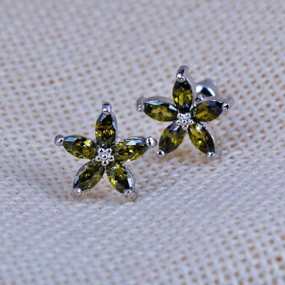 Boho Female Small Star Stud Earrings Fashion 925 Sterling Silver Wedding Earrings For Women Cute Peridot Zircon Stone Earrings