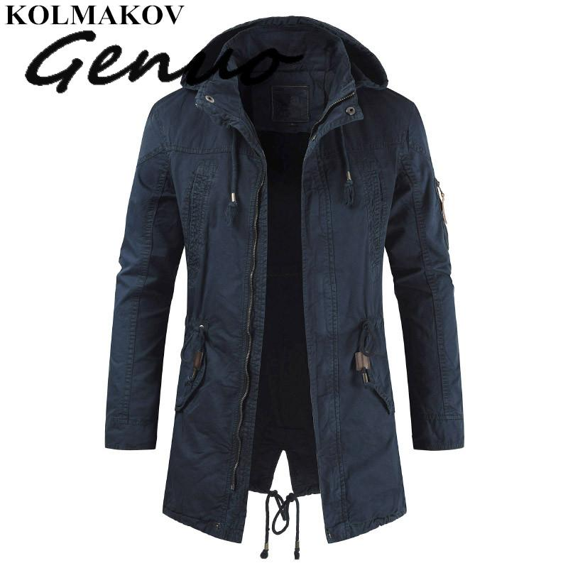 Genuo New Men's   Trench   Coats 2019 Spring Cargo Windbreakers Male Hooded Outerwear With Detachable Hat Classic   Trench   Coat Man