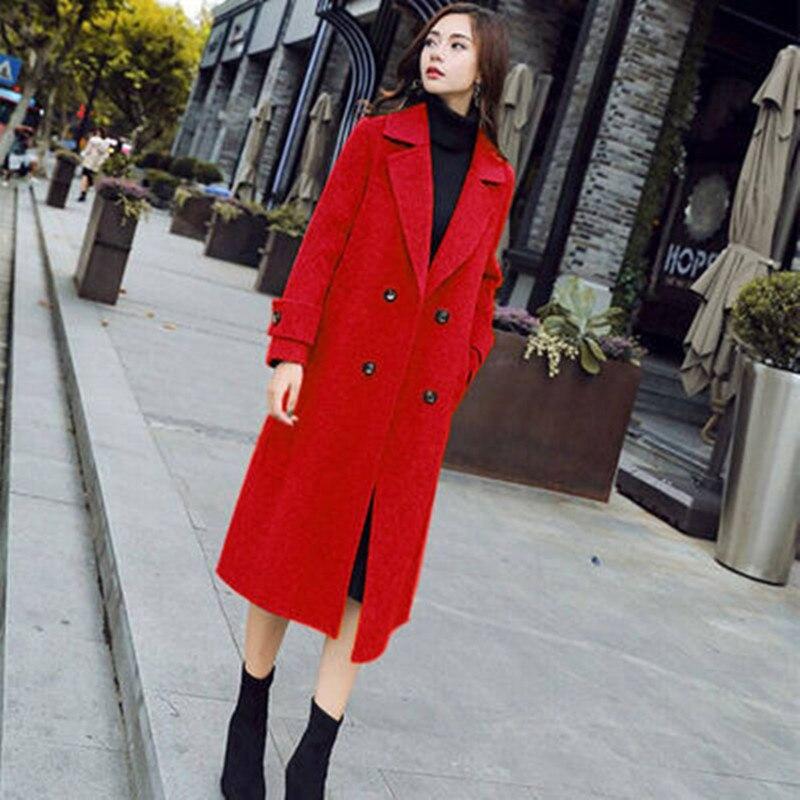 Spring autumn Woolen Coat Double Breasted Jacket Plus Size Long Blended Woolen Coat Fashion Women Clothing Red Black Kpop Coats