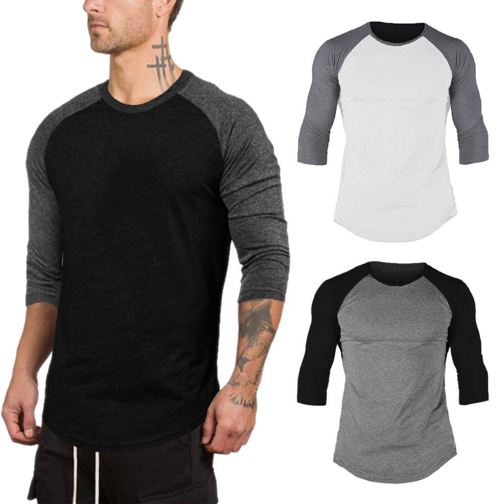 2019 Fashion Men's 3/4 Sleeve Raglan Baseball Slim Fit T-Shirts Summer Casual Crew Neck Tee Tops Plus Size M-2XL
