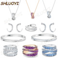 SHLUOYI 2020 fashion jewelry high quality SWA new style. Multicolor charming twisted geometry lady's exquisite ring