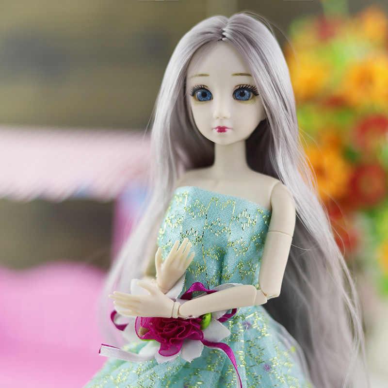Bjd boneca 20 bola conjunta boneca 3d olhos bjd boneca de plástico 30 cm bonecas para meninas brinquedos peruca longa cabelo feminino corpo nu boneca moda