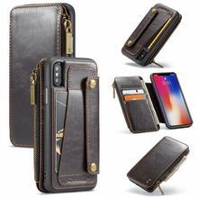 Funda de cuero con tapa para iPhone 11 Pro, funda trasera con cremallera y bolsillos para tarjetas de crédito, XS, MAX, X, XR, 7