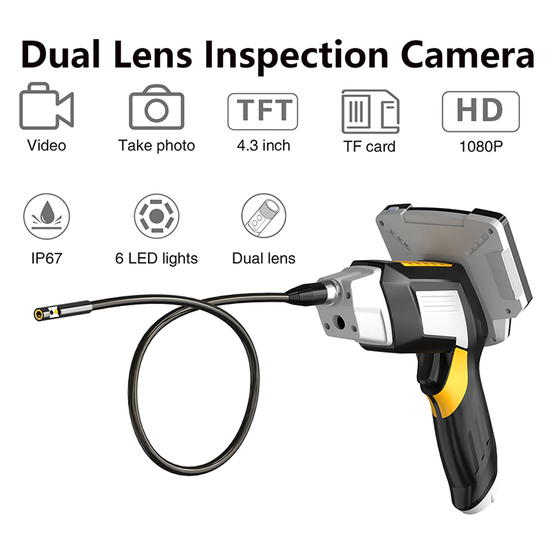 Portable Dual Lens Handheld Endoscope 4 3inchScreen Inspection Camera with 6 LED 8mm Industrial Digital Endoscopy With 32GB TF Card