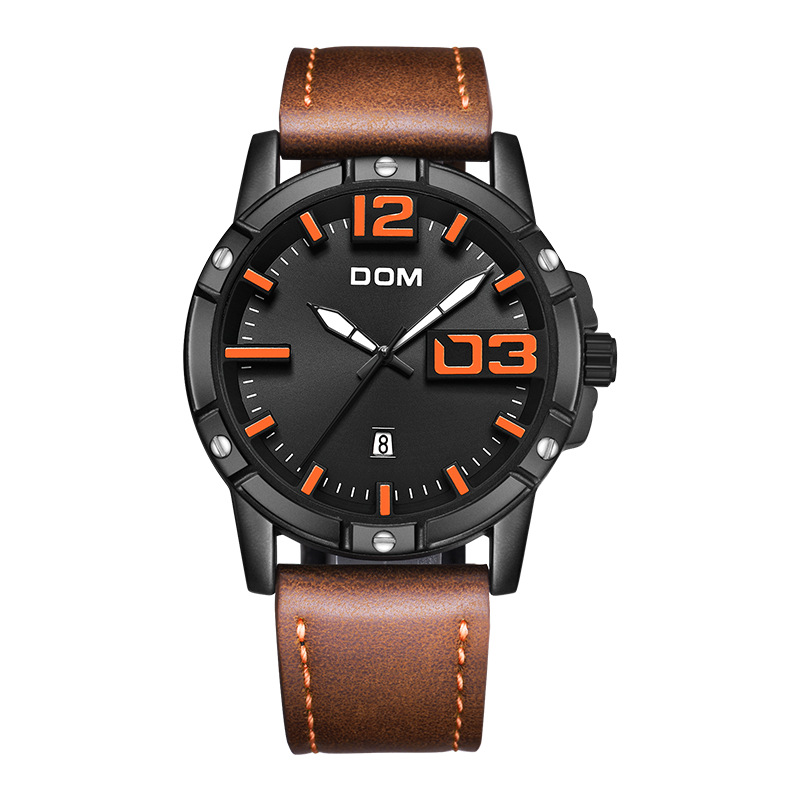 Watch Men DOM  Luxury Sport Quartz wristwatch clock Mens Watches Leather Business Waterproof watch Relogio Masculin