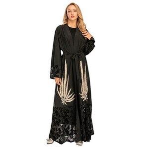 New fashion beaded applique stitching robe Islamic Dubai Muslim abaya abayas for women open abaya kimono MSL193