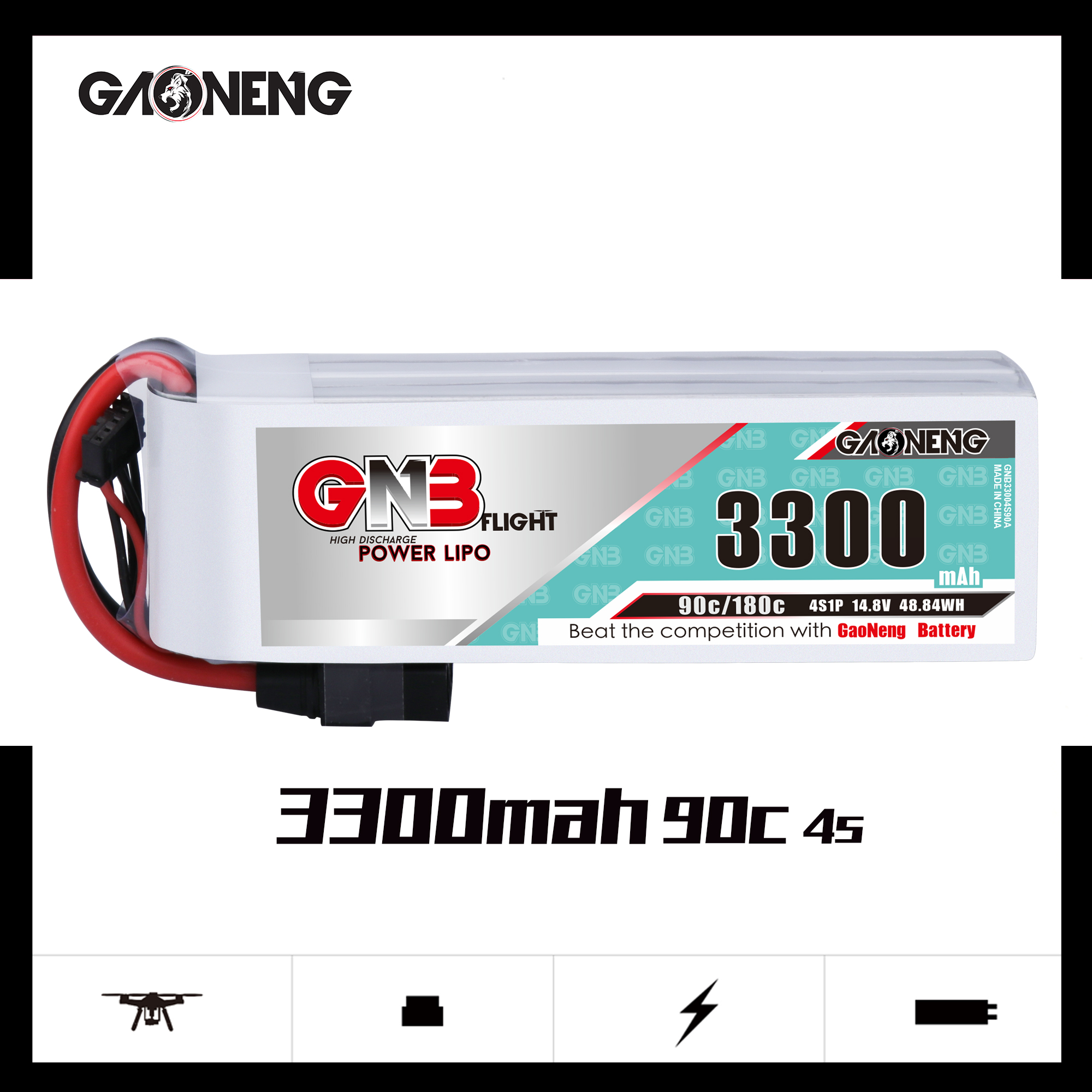 Gaoneng GNB <font><b>3300mAh</b></font> <font><b>4S</b></font> 90C 14.8V Lipo Battery XT60 XT90 T Plug Fixed Wing Vehicle Model Ship High Performance Lithium Battery image