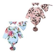 Спальные мешки для новорожденных Детское одеяло облегающее платье с цветочным рисунком комплект одежды из 2 предметов, хлопчатобумажное одеяльце