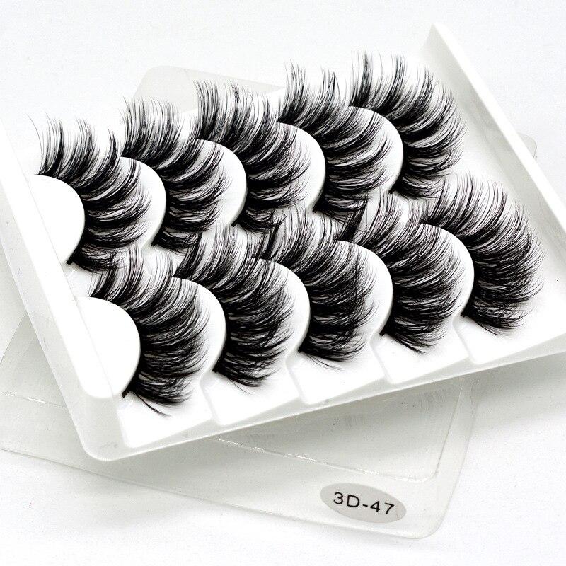 5 Pairs 3D Mink Hair False Eyelashes Natural/Thick Long Eye Lashes Wispy Makeup Beauty Extension Silk Eyelashes Tools