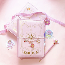 3 Styles Card Captor Sakura Anime Action Figure Printed Paper Handbook Magic Notebook Lovely Moon Star Diary Book Stationery Set