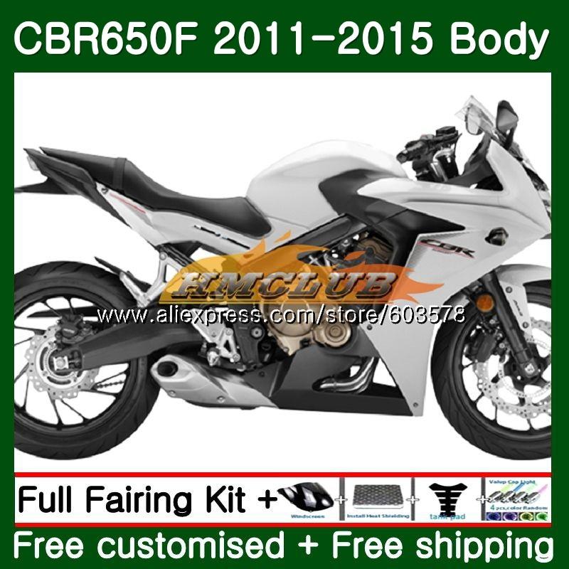 CBR-650F Pour HONDA CBR 650F 650 F 2011 2012 2013 2014 2015 130CL. 3 CBR650 F CBR-650 CBR650F 11 12 13 14 15 blanc Brillant Carénage