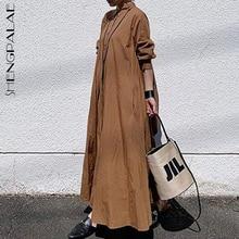 Dresses Maxi-Shirt Minimalist-Dress Solid-Color Women's Female Spring Pocket Lapel Loose