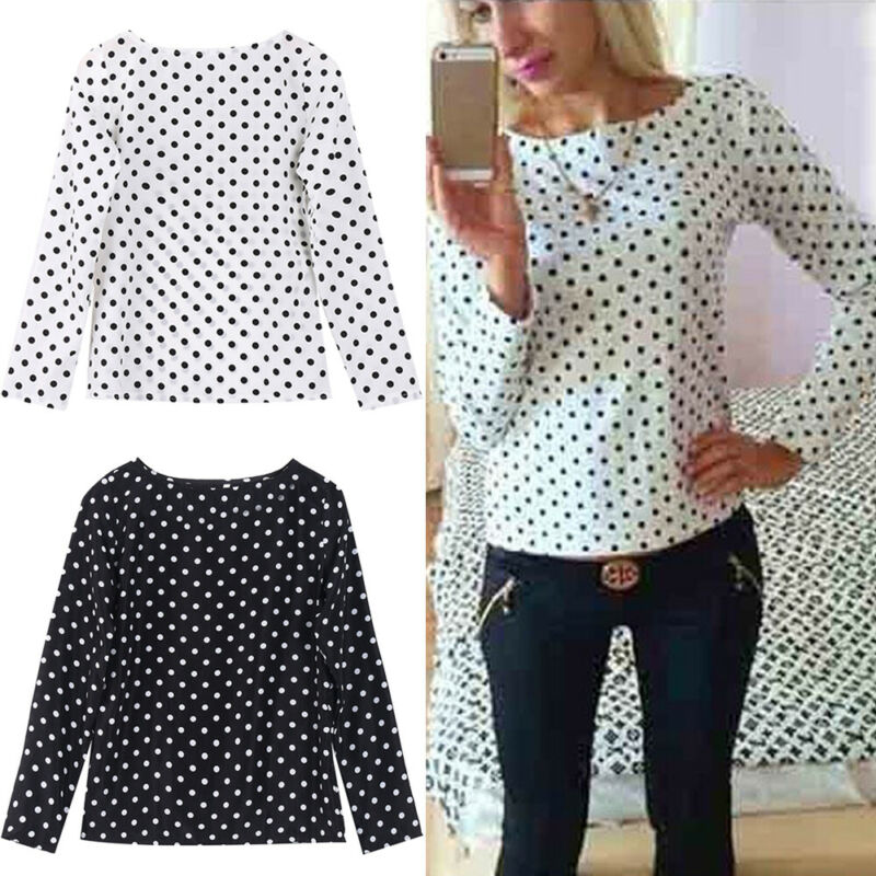 Autumn Blouse Womens Pullover Vintage Long Sleeve O-Neck Slim Polka Dots Chiffon Casual Tops Simple Blouse Womens 2019 Hot Sale