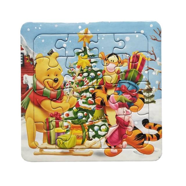 Puzzle cyfrowy papier słynny rysunkowy puchatek edukacyjne zabawki dla dzieci 9/12/16 sztuk Puzzle gra darmowa wysyłka zabawki dla dzieci
