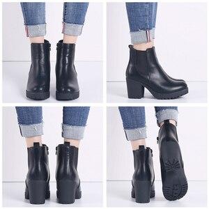 Image 4 - TKN véritable bottes femmes bottines hiver neige bottes en cuir véritable bottes pour femmes mode fermeture éclair chelsea bottes nouveauté 1902